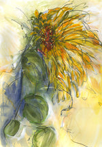 Water media painting, Sunflower IV by Christine Alfery