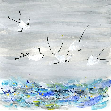 Water media painting, Terns Diving for Fish by Christine Alfery