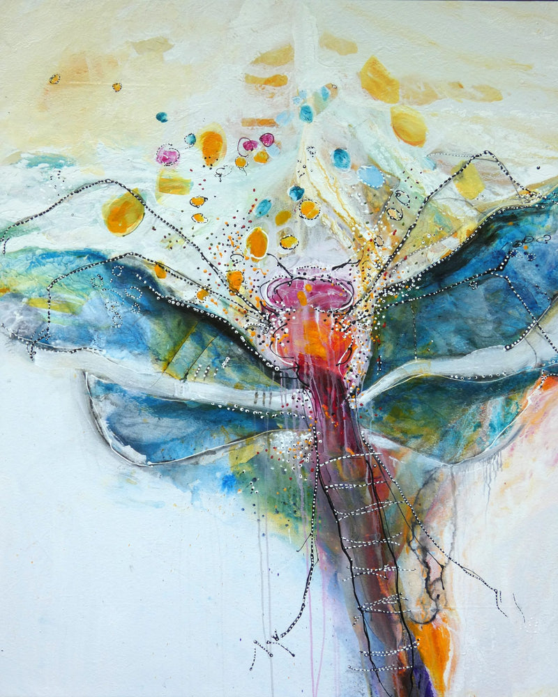 Water media painting, The Hope of the Dragonfly  by Christine Alfery