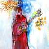Water media painting, The Guitar Player by Christine Alfery