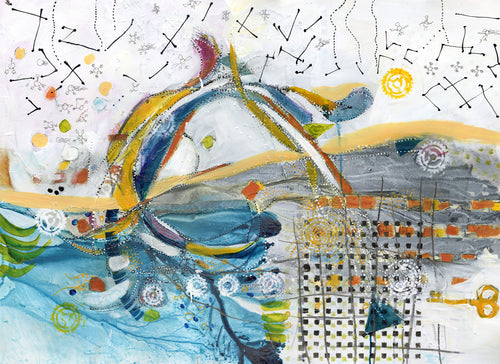 Water media painting, The Key by Christine Alfery