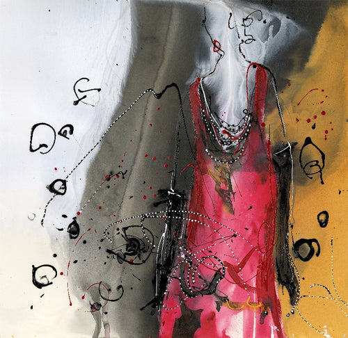 Water media painting, The Red Dress by Christine Alfery