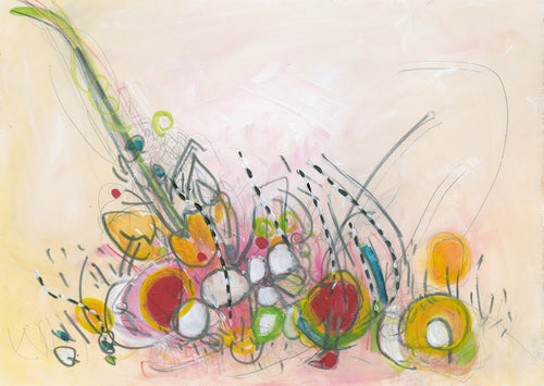 Water media painting, Bowl of Fruit by Christine Alfery