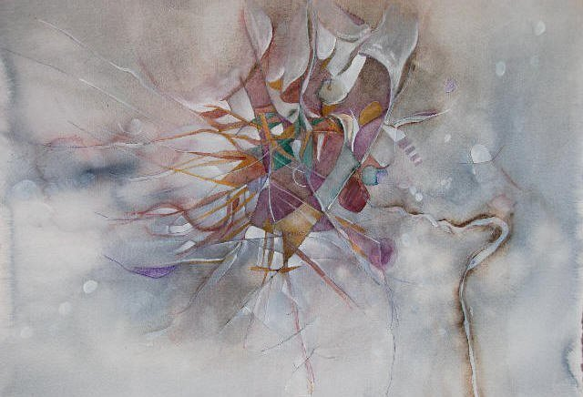 Water media on paper, Thistle by Christine Alfery
