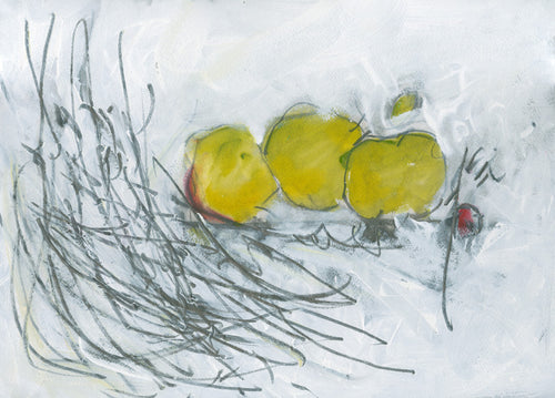 Water media painting, Three Green Apples by Christine Alfery