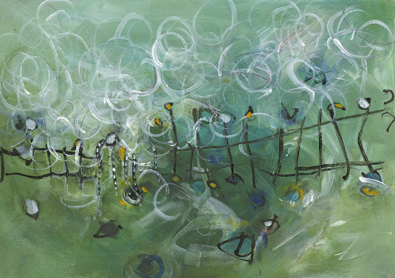 Water media painting, Through The Gate by Christine Alfery