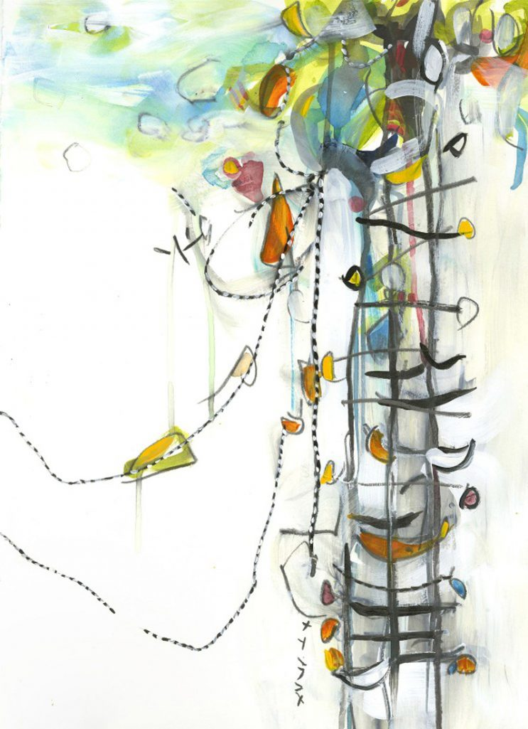Water media painting, Tree House II by Christine Alfery