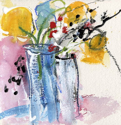 Water media painting, Two Vases of Flowers by Christine Alfery