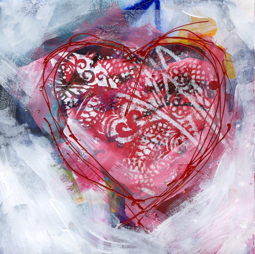 Water media painting, Valentine 2021 by Christine Alfery