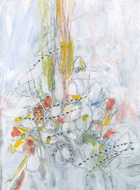 Water media painting, The Wind Has Blown the Leaves Down by Christine Alfery