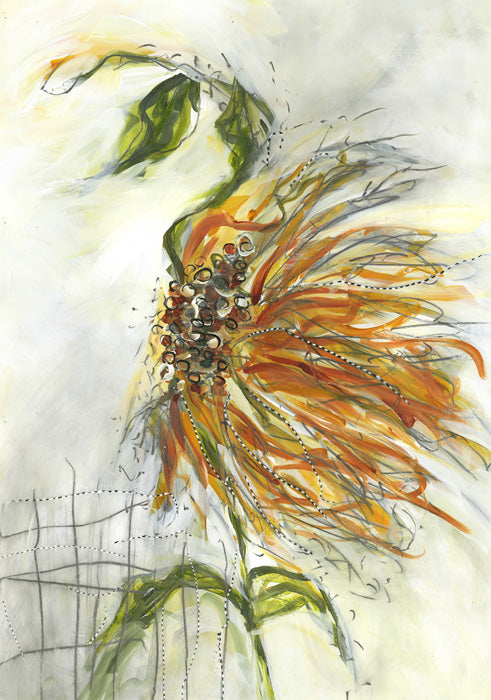 Water media painting, Waltzing Sunflower by Christine Alfery
