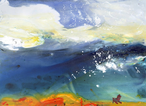 Water media painting, Where Sky and Water Meet by Christine Alfery