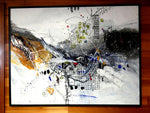 Water media painting framed, How Do I Get There by Christine Alfery