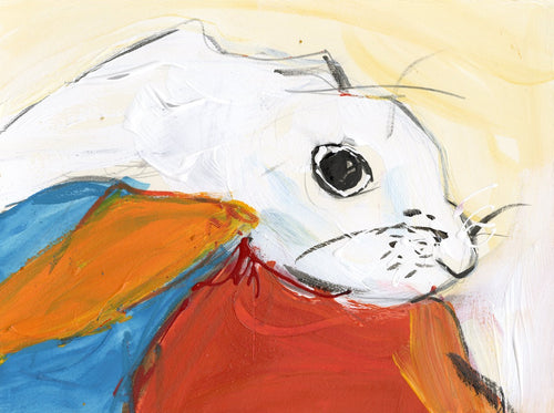 Water media painting, White Bunny by Christine Alfery