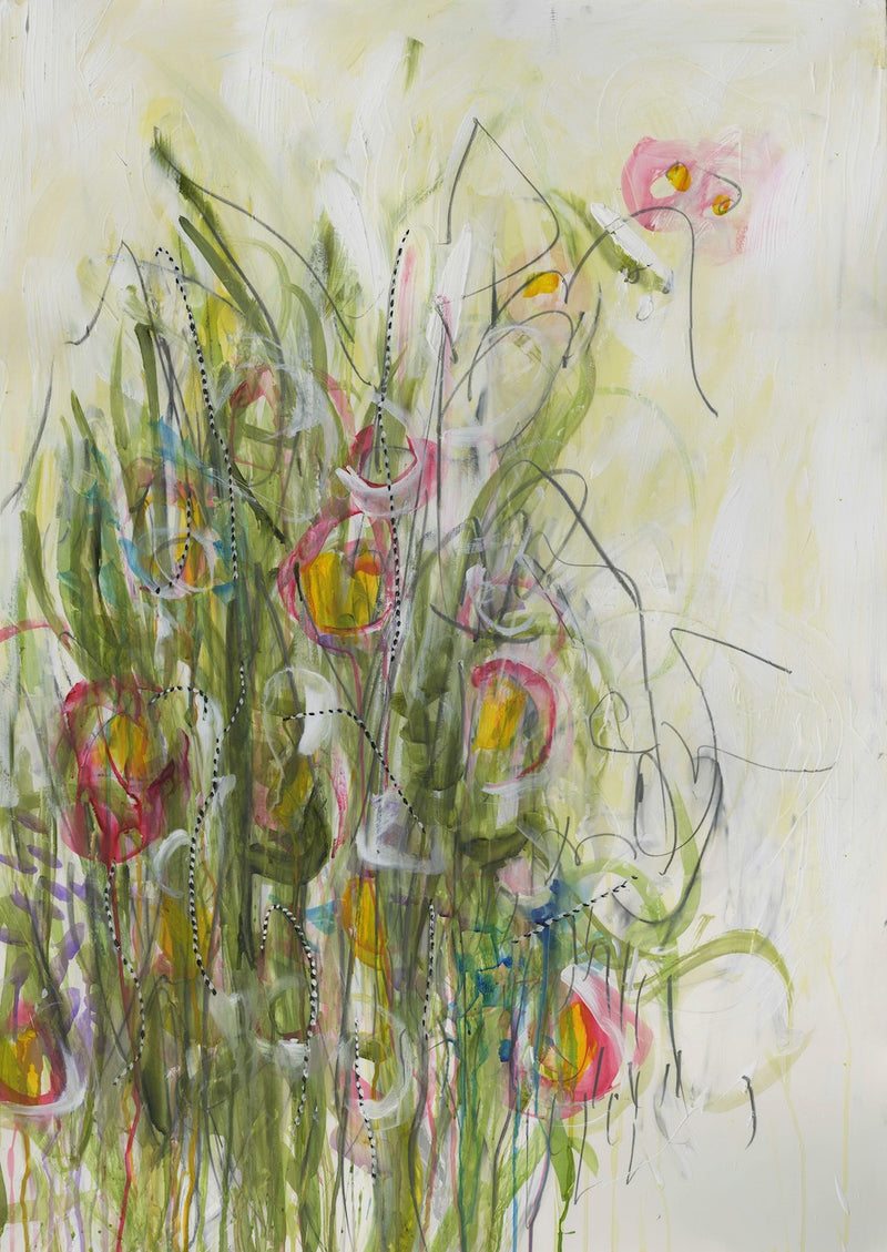 Water media painting, Wild Flowers in the Meadow by Christine Alfery
