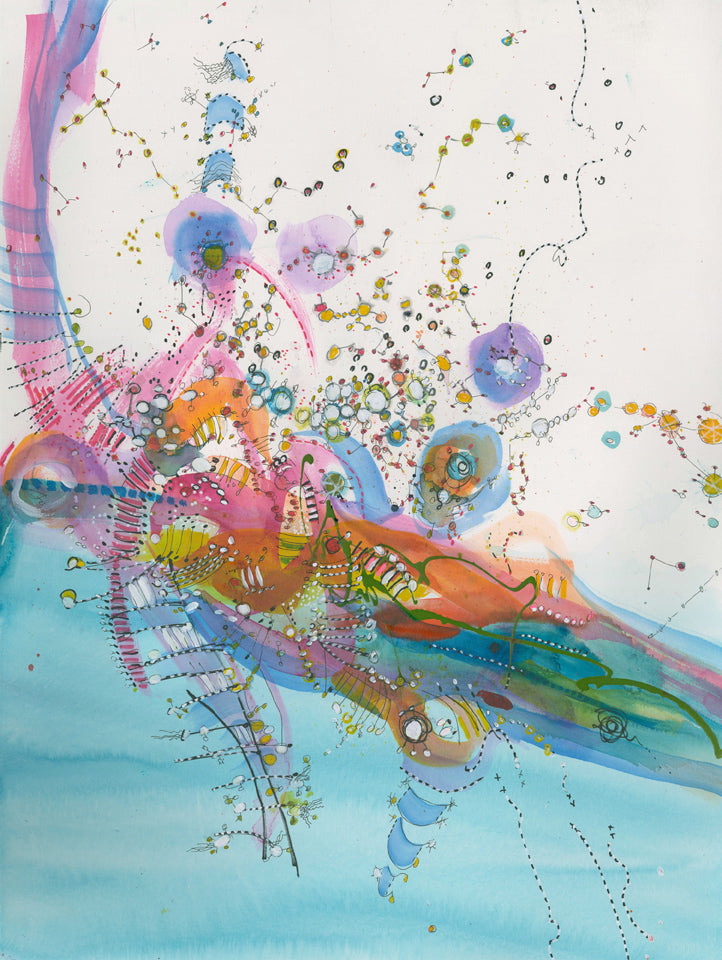 Water media painting,  Willy Wonka's Flying Machine II by Christine Alfery