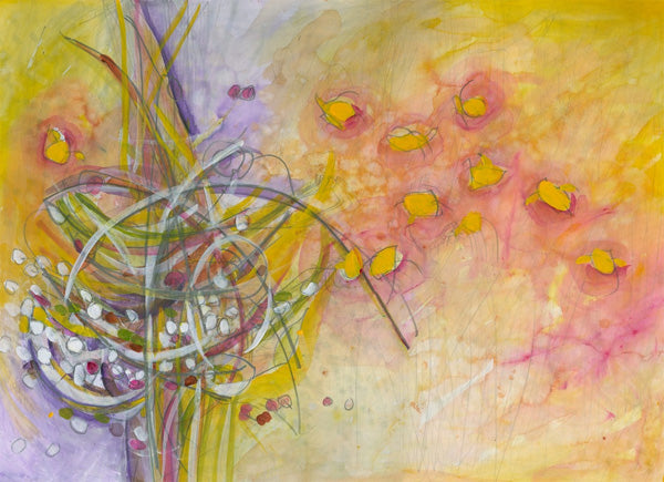 Water media painting, Yellow Finches at the Feeder II by Christine Alfery