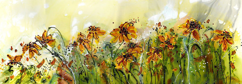 Water media painting, Yellow Flowers by Christine Alfery