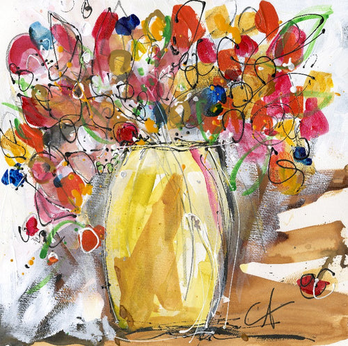 Water media painting, Yellow Vase with Flowers by Christine Alfery