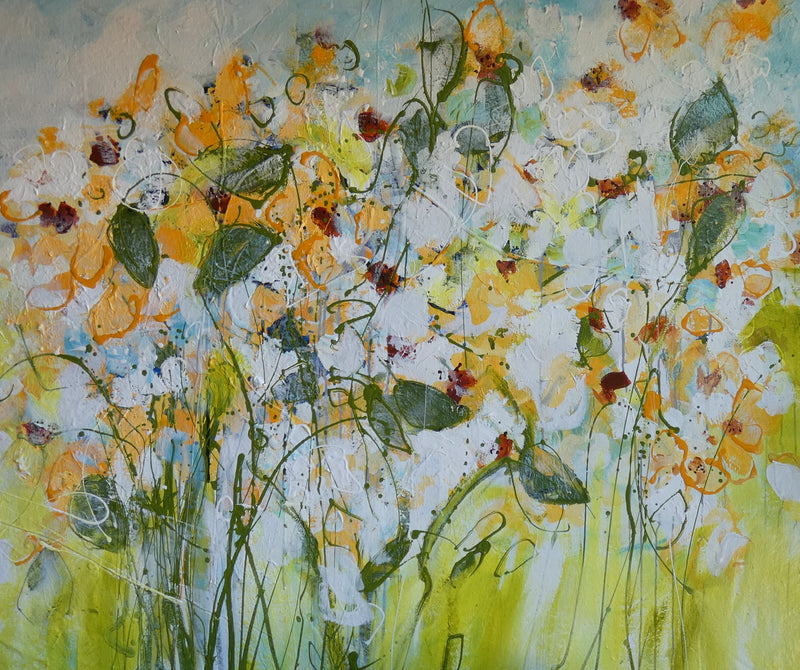 Water media painting, Yellow and White Field of Flowers by Christine Alfery