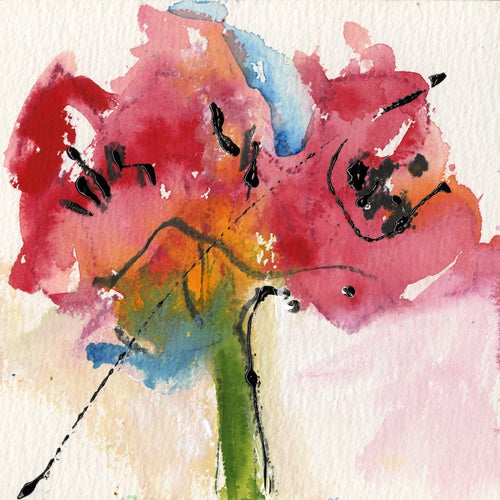Water media painting, Amaryllis by Christine Alfery