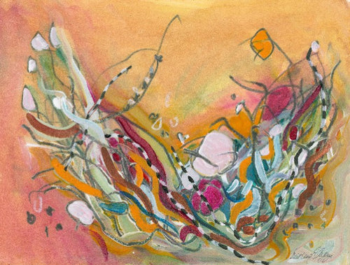Water media painting, Basket Web by Christine Alfery