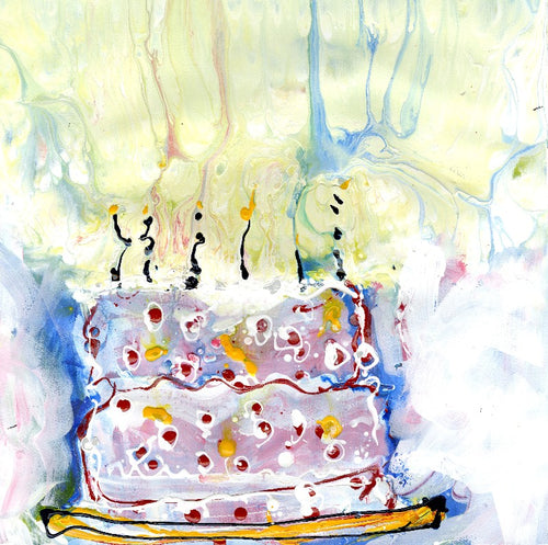 Water media painting, Birthday Cake by Christine Alfery