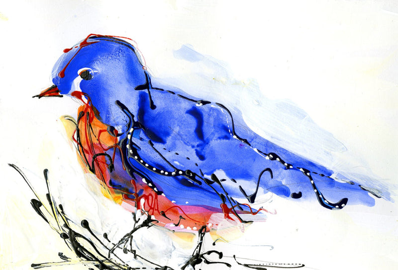 Water media painting, Blue Bird by Christine Alfery