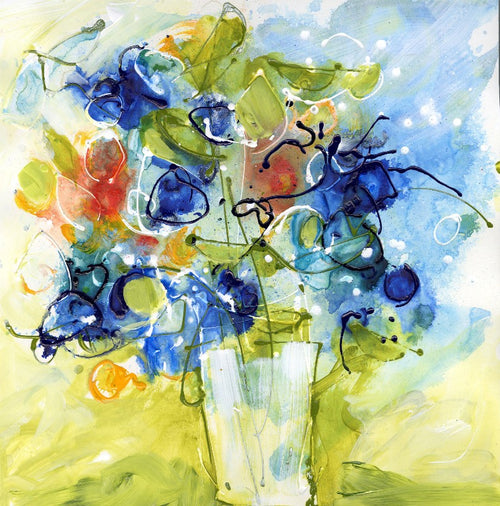 Water media painting, Blue Bells and Christine Alfery