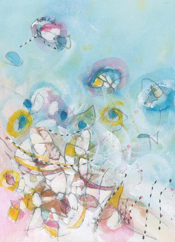 Water media painting, Blue Birds by Christine Alfery
