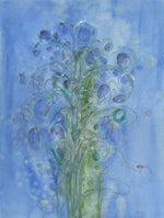 Water media painting, Blue Flowers by Christine Alfery