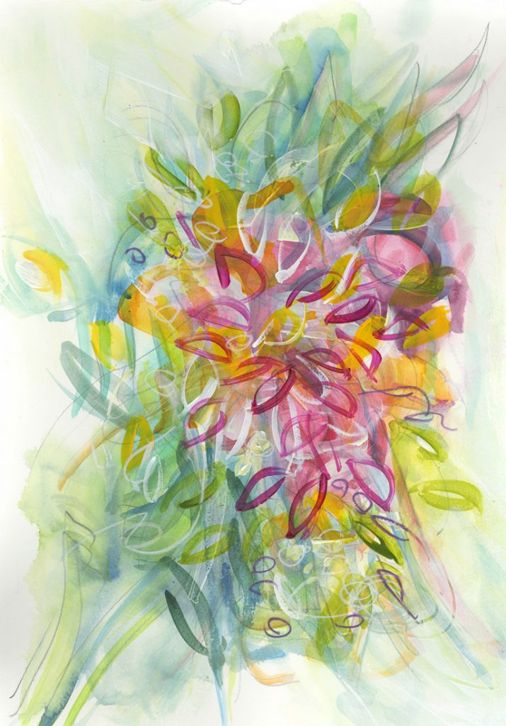 Water media painting, Bouquet II by Christine Alfery