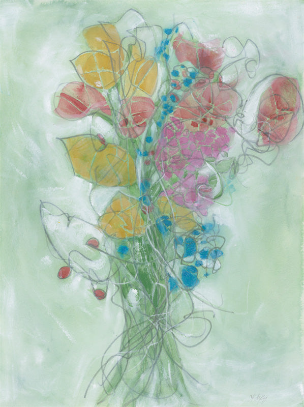 Water media painting, Bouquet by Christine Alfery