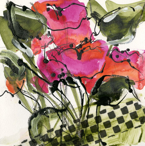 Water media sketch on paper, Checkered Pot Red Flowers by Christine Alfery