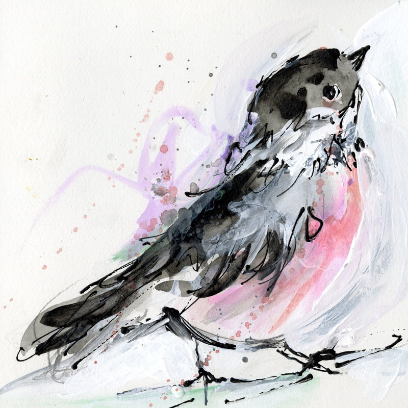 Water media painting, Chickadee II by Christine Aflery
