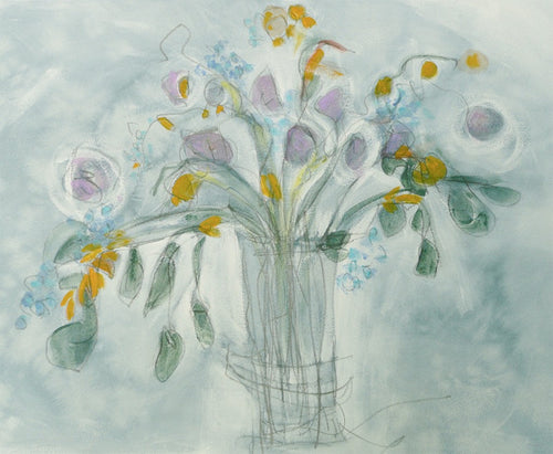 Water media painting, Christine's Garden Flowers by Christine Alfery