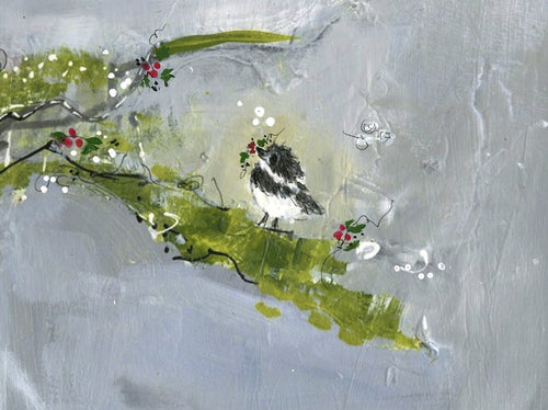 Water media painting, Christmas Chickadee 2020 by Christine Alfery