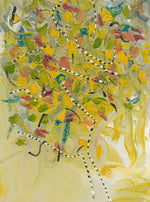 Water media painting, Colored Leaves on the Path by Christine Alfery
