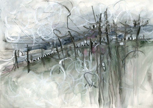 Water media painting, Fairies on the Fence Before the Storm by Christine Alfery