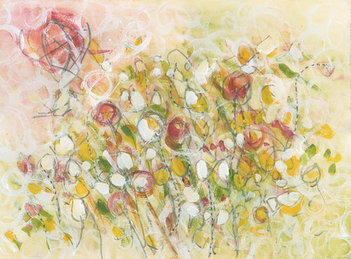 Water media painting, Field of Buttercups by Christine Alfery