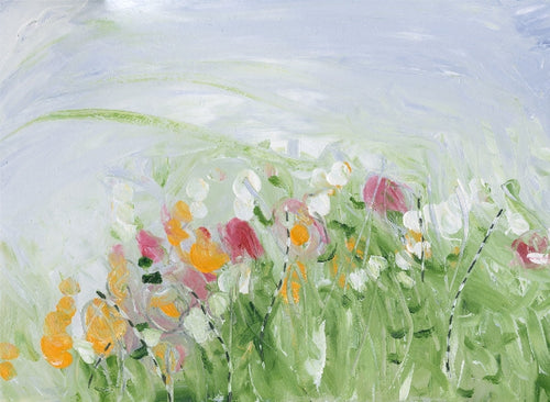 Water media painting, Field of Flowers by Christine Alfery
