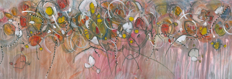 Water media painting, Finches Caught in the Drift  by Christine Alfery