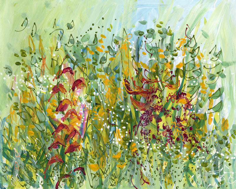 Water media painting Flowers at the Chocolate Farm by Christine Alfery