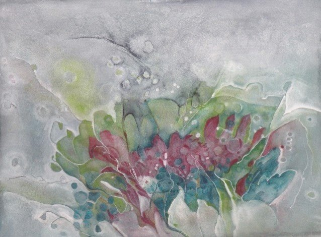 Water media painting, Hen and Chicks by Christine Alfery