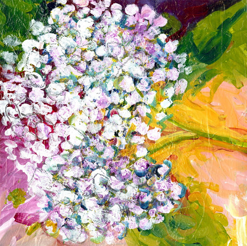 Water media painting, Hydrangea Baby by Christine Alfery