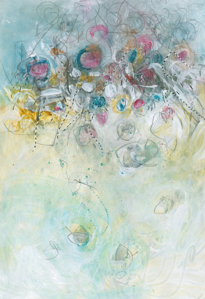 Water media painting, Jewels by Christine Alfery