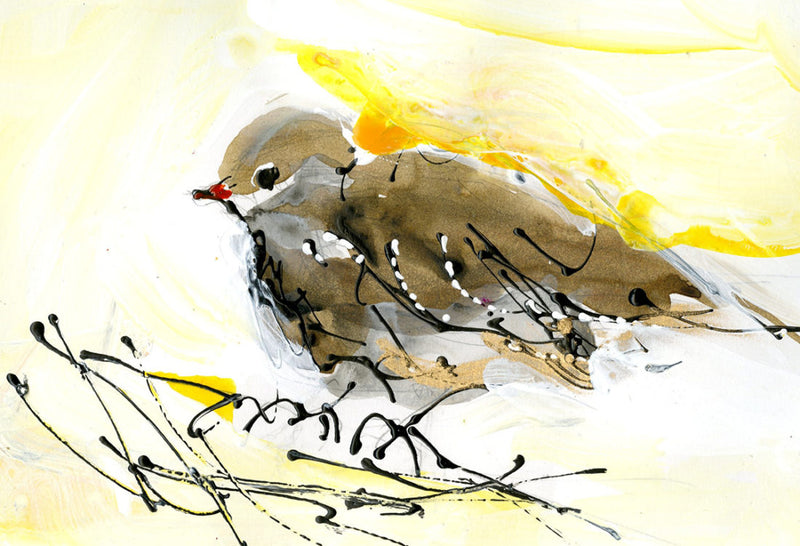 Water media painting,  Little Brown Bird by Christine Alfery