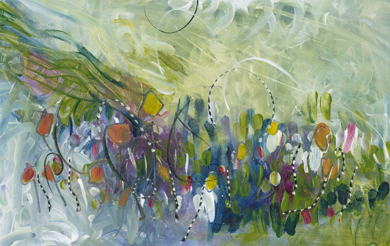 Water media painting, Little Fish in the Weeds  by Christine Alfery