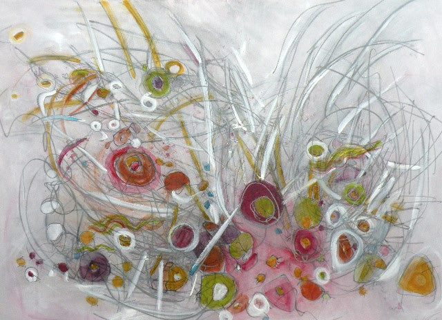 Water media painting, Love's Extravagant Gestures by Christine Alfery