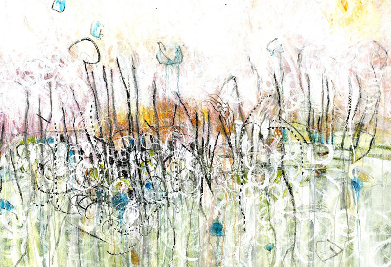 Water media painting, Marshlands Break of Day  by Christine Alfery